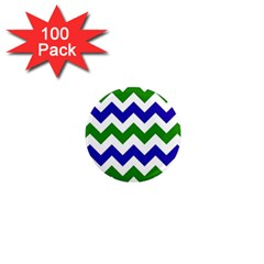 Blue And Green Chevron Pattern 1  Mini Magnets (100 Pack)