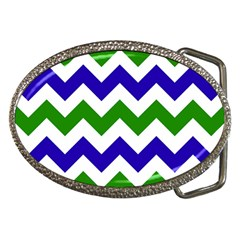 Blue And Green Chevron Pattern Belt Buckles