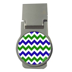 Blue And Green Chevron Pattern Money Clips (round)  by AnjaniArt