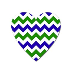 Blue And Green Chevron Pattern Heart Magnet