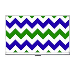 Blue And Green Chevron Pattern Business Card Holders by AnjaniArt