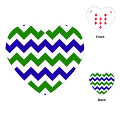 Blue And Green Chevron Pattern Playing Cards (heart)  by AnjaniArt