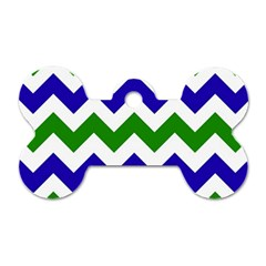 Blue And Green Chevron Pattern Dog Tag Bone (two Sides) by AnjaniArt