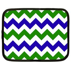Blue And Green Chevron Pattern Netbook Case (xxl)