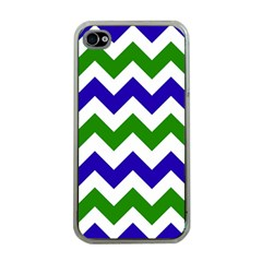 Blue And Green Chevron Pattern Apple Iphone 4 Case (clear)