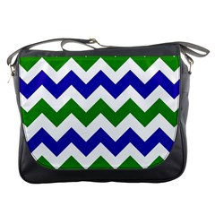 Blue And Green Chevron Pattern Messenger Bags