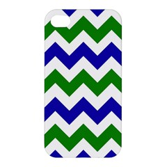Blue And Green Chevron Pattern Apple Iphone 4/4s Premium Hardshell Case