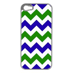 Blue And Green Chevron Pattern Apple Iphone 5 Case (silver) by AnjaniArt