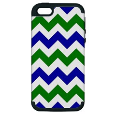 Blue And Green Chevron Pattern Apple Iphone 5 Hardshell Case (pc+silicone)