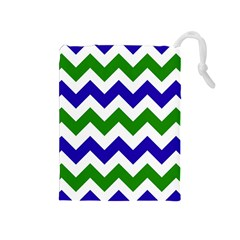 Blue And Green Chevron Pattern Drawstring Pouches (medium)  by AnjaniArt