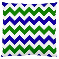 Blue And Green Chevron Pattern Large Flano Cushion Case (two Sides)