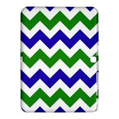 Blue And Green Chevron Pattern Samsung Galaxy Tab 4 (10 1 ) Hardshell Case  by AnjaniArt