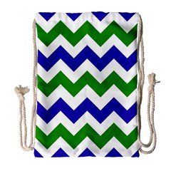 Blue And Green Chevron Pattern Drawstring Bag (large) by AnjaniArt