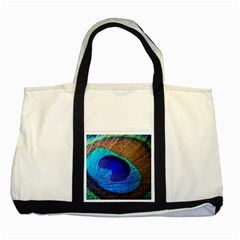 Blue Peacock Two Tone Tote Bag