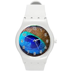 Blue Peacock Round Plastic Sport Watch (m)