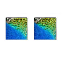 Blue Peacock Feathers Cufflinks (square)