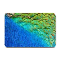 Blue Peacock Feathers Small Doormat  by AnjaniArt