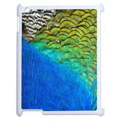 Blue Peacock Feathers Apple Ipad 2 Case (white)