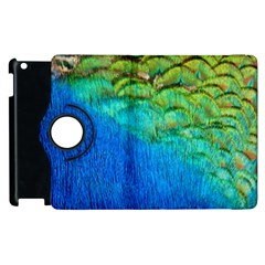 Blue Peacock Feathers Apple Ipad 3/4 Flip 360 Case by AnjaniArt