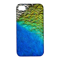 Blue Peacock Feathers Apple Iphone 4/4s Hardshell Case With Stand by AnjaniArt