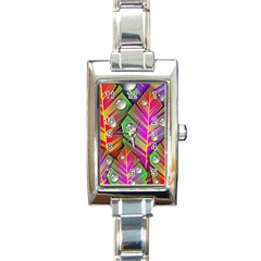 Bubbles Colorful Leaves Rectangle Italian Charm Watch