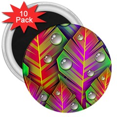 Bubbles Colorful Leaves 3  Magnets (10 Pack)  by AnjaniArt