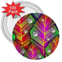 Bubbles Colorful Leaves 3  Buttons (100 Pack)
