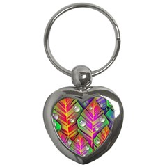 Bubbles Colorful Leaves Key Chains (heart)  by AnjaniArt