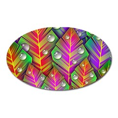 Bubbles Colorful Leaves Oval Magnet by AnjaniArt