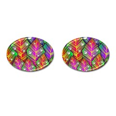 Bubbles Colorful Leaves Cufflinks (oval) by AnjaniArt