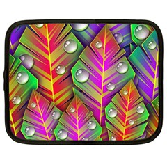 Bubbles Colorful Leaves Netbook Case (large) by AnjaniArt