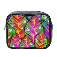 Bubbles Colorful Leaves Mini Toiletries Bag 2 Side by AnjaniArt