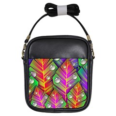 Bubbles Colorful Leaves Girls Sling Bags