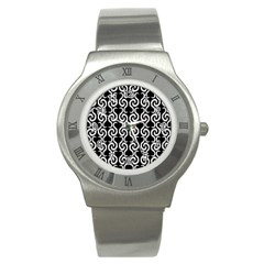 Black And White Pattern Stainless Steel Watch by Valentinaart