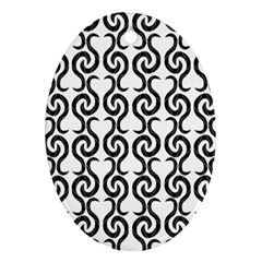 White And Black Elegant Pattern Ornament (oval)  by Valentinaart