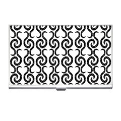 White And Black Elegant Pattern Business Card Holders by Valentinaart