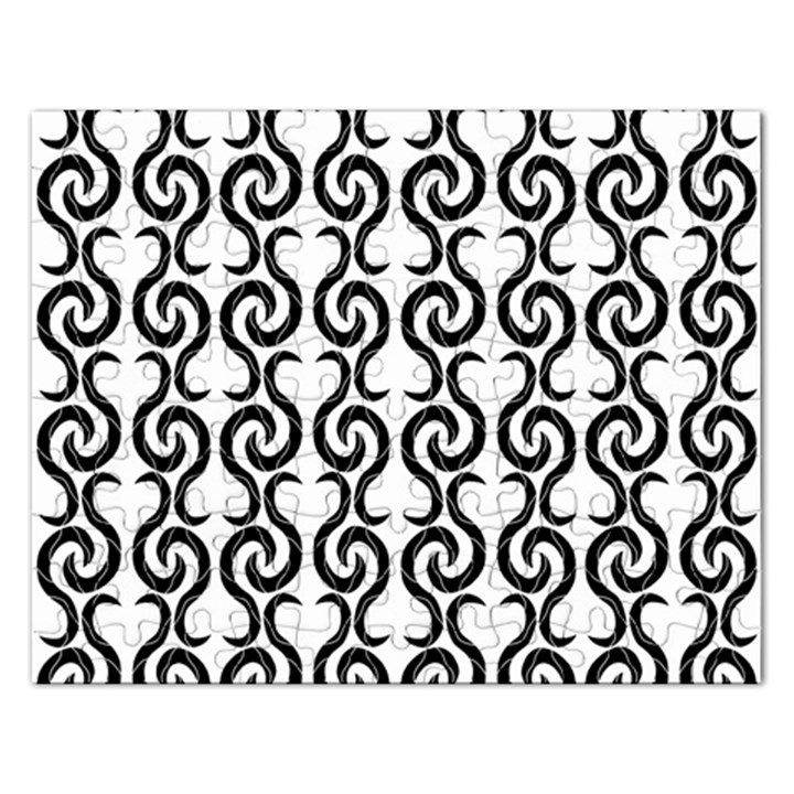 White and black elegant pattern Rectangular Jigsaw Puzzl