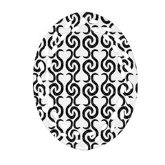 White And Black Elegant Pattern Ornament (oval Filigree)  by Valentinaart