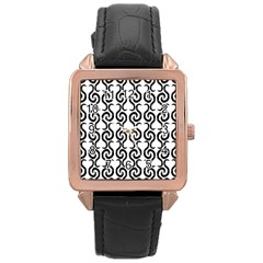White And Black Elegant Pattern Rose Gold Leather Watch  by Valentinaart