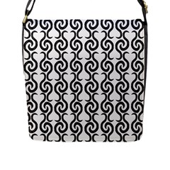 White And Black Elegant Pattern Flap Messenger Bag (l)  by Valentinaart
