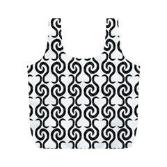 White And Black Elegant Pattern Full Print Recycle Bags (m)