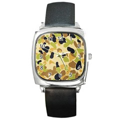 Camouflage Pattern Army Square Metal Watch