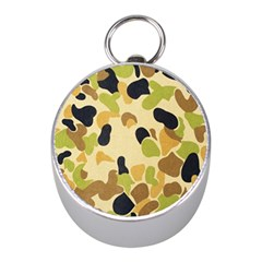 Camouflage Pattern Army Mini Silver Compasses by AnjaniArt