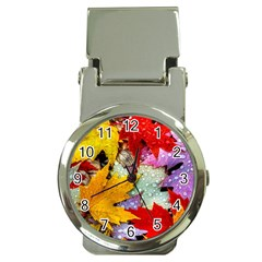 Coloorfull Leave Money Clip Watches