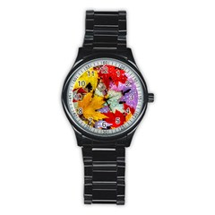 Coloorfull Leave Stainless Steel Round Watch