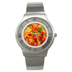 Colorful Fall Leaves Stainless Steel Watch by AnjaniArt