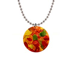 Colorful Fall Leaves Button Necklaces