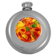 Colorful Fall Leaves Round Hip Flask (5 Oz) by AnjaniArt