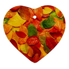 Colorful Fall Leaves Heart Ornament (2 Sides) by AnjaniArt