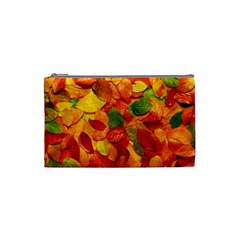 Colorful Fall Leaves Cosmetic Bag (small)  by AnjaniArt